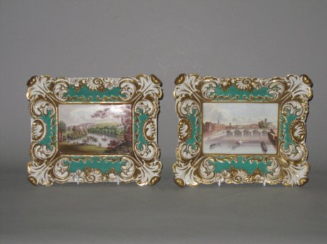 RARE PAIR GRAINGERS WORCESTER PORCELAIN PLAQUES. CIRCA 1825-30 - Click to enlarge and for full details.