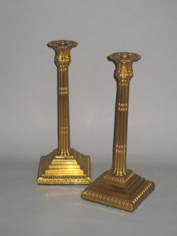 RARE PAIR OF MERCURIAL GILDED OLD SHEFFIELD PLATE CANDLESTICKS. BY JOHN HOYLAND & CO. CIRCA 1770 - Click to enlarge and for full details.