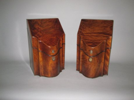 PAIR MAHOGANY KNIFE BOXES, CIRCA 1790 - Click to enlarge and for full details.