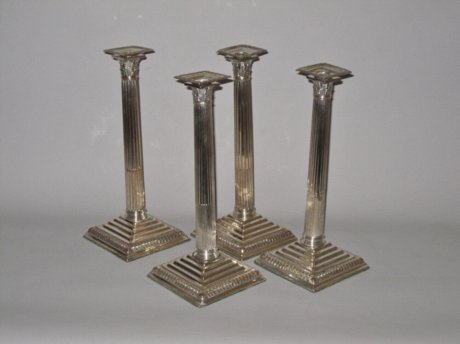 SET OF FOUR OLD SHEFFIELD PLATE SILVER CANDLESTICKS. CIRCA 1765 - Click to enlarge and for full details.
