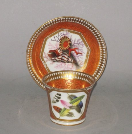 CHAMBERLAINS WORCESTER CABINET CUP & SAUCER. CIRCA 1810 - Click to enlarge and for full details.