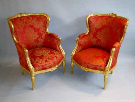 PAIR OF MID 19TH CENTURY GILT CHAIRS - Click to enlarge and for full details.