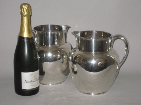 RARE PAIR OLD SHEFFIELD PLATE SILVER WINE OR ALE JUGS. CIRCA 1790 - Click to enlarge and for full details.