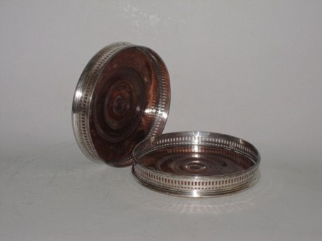 PAIR OLD SHEFFIELD PLATE MAGNUM COASTERS. CIRCA 1790 - Click to enlarge and for full details.