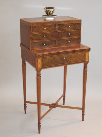 SHERATON PERIOD ROSEWOOD & INLAID BONHEUR DU JOUR. - Click to enlarge and for full details.