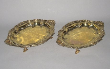 PAIR SILVERGILT FRUIT OR DESSERT DISHES BY PAUL STORR. - Click to enlarge and for full details.