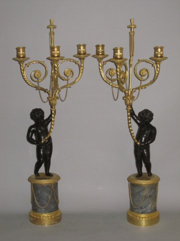 PAIR OF EMPIRE PERIOD BRONZE, ORMOLU & MARBLE CANDELABRA. CIRCA 1825 - Click to enlarge and for full details.