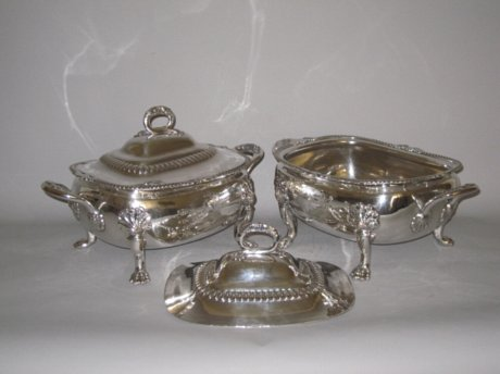 PAIR OLD SHEFFIELD PLATE SILVER VEGETABLE TUREENS. CIRCA 1820 - Click to enlarge and for full details.