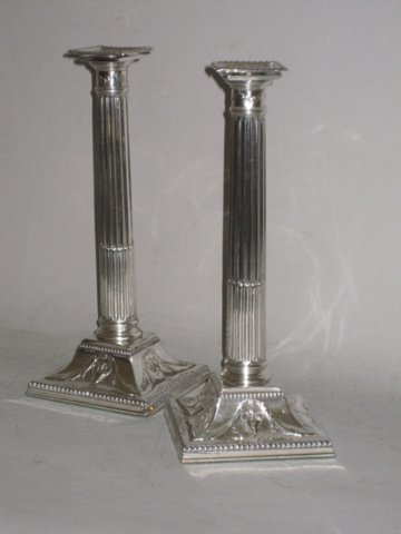 PAIR SMALL OLD SHEFFIELD PLATE SILVER CANDLESTICKS. CIRCA 1780 - Click to enlarge and for full details.