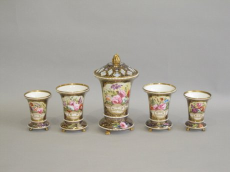 A GARNITURE OF FIVE SPODE VASES. PATTERN 2575, CIRCA 1820 - Click to enlarge and for full details.