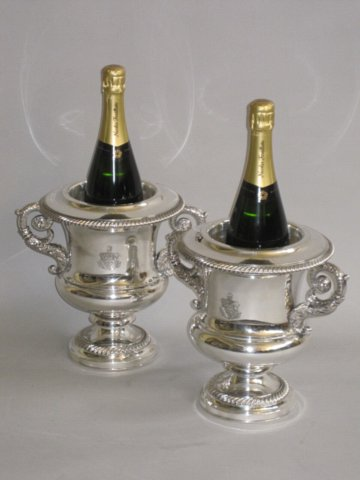 PAIR OLD SHEFFIELD PLATE SILVER WINE COOLERS. CIRCA 1820. - Click to enlarge and for full details.
