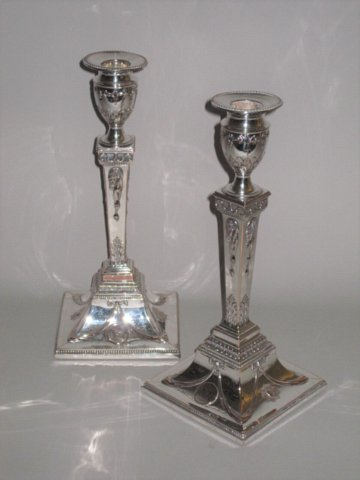 RARE PAIR OLD SHEFFIELD PLATE SILVER CANDLESTICKS, CIRCA 1775 - Click to enlarge and for full details.