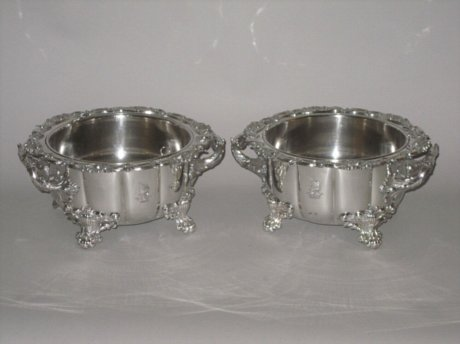 PAIR OLD SHEFFIELD PLATE SILVER SOUFLE DISHES, CIRCA 1825 - Click to enlarge and for full details.