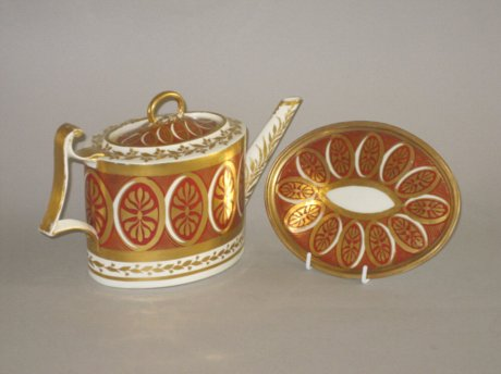 DERBY porcelain teapot and stand, circa 1795 - Click to enlarge and for full details.