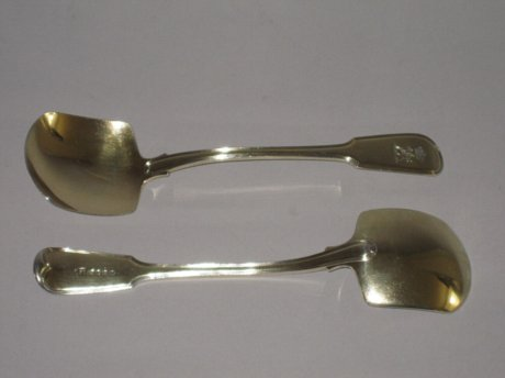 PAIR SILVERGILT ICE SPADES. LONDON 1816 ELEY & FEARN  - Click to enlarge and for full details.