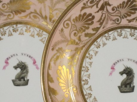 PAIR FLIGHT BARR & BARR WORCESTER DESSERT PLATES, CIRCA 1810-13 - Click to enlarge and for full details.