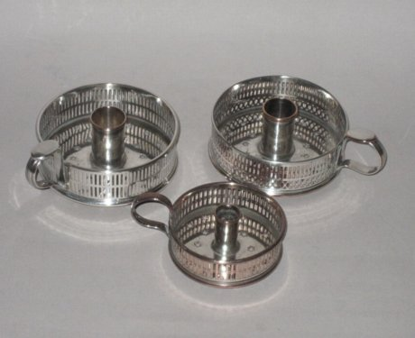 THREE OLD SHEFFIELD PLATE SILVER CHAMBERSTICKS, CIRCA 1775 - Click to enlarge and for full details.