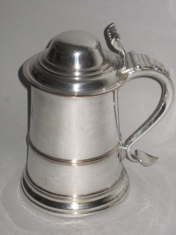 OLD SHEFFIELD PLATE SILVER LIDDED TANKARD, CIRCA 1765 - Click to enlarge and for full details.