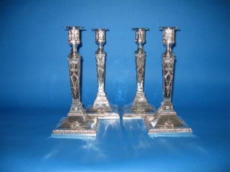Set of four Old Sheffield Plate candlesticks - Click to enlarge and for full details.