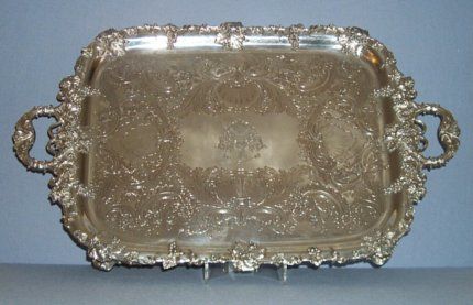 Old Sheffield Plate two handled tea tray - Click to enlarge and for full details.