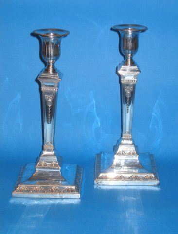 Pair of late 18th Century Old Sheffield Plate Candlesticks - Click to enlarge and for full details.