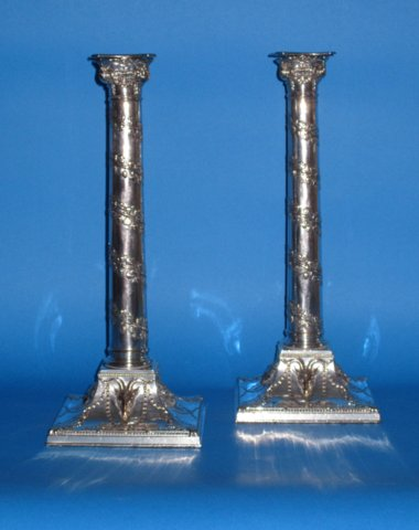 Pair George III Old Sheffield Candlesticks - Click to enlarge and for full details.