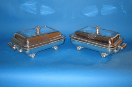 A superb pair of early 19th Century entree dishes and warmers - Click to enlarge and for full details.