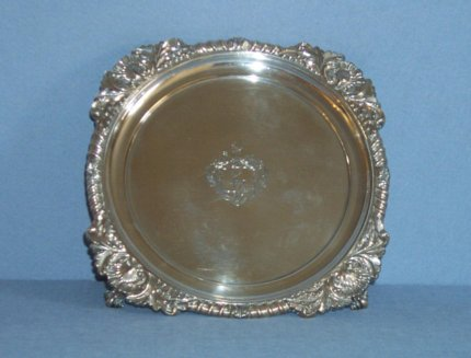Small Old Sheffield Plate salver. - Click to enlarge and for full details.