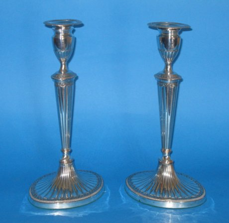 Pair late 18th Century candlesticks - Click to enlarge and for full details.