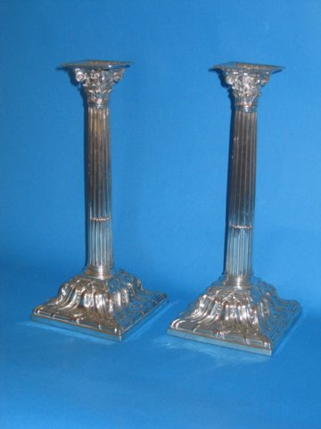 Pair George III square based candlesticks - Click to enlarge and for full details.