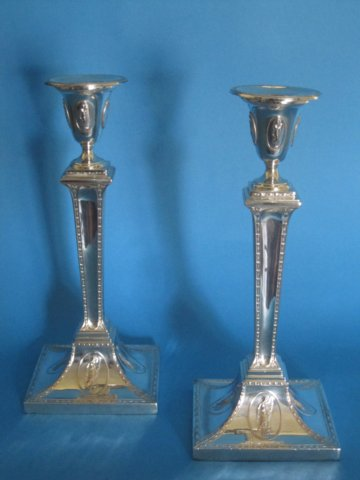 Pair of Flaxman influenced Georgian candlesticks - Click to enlarge and for full details.