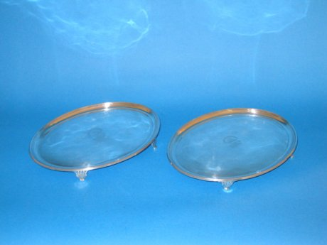 Pair small oval salvers - Click to enlarge and for full details.