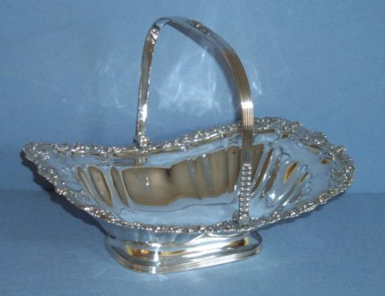 Regency Old Sheffield Plate swing handled basket. - Click to enlarge and for full details.