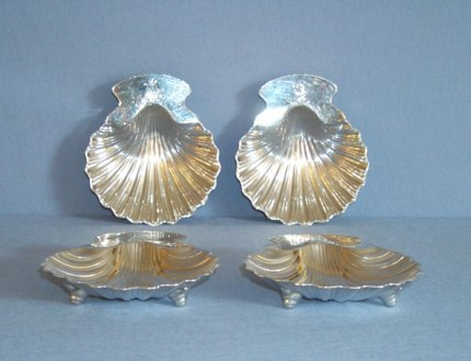 Set of four Old Sheffield butter shells. - Click to enlarge and for full details.