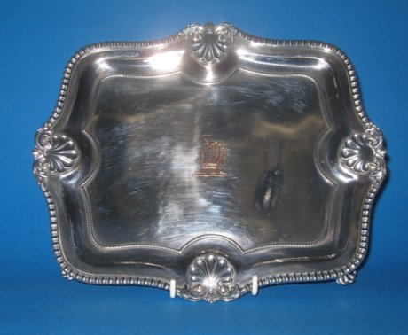George IV Old Sheffield Plate silver oblong salver, c.1825 - Click to enlarge and for full details.