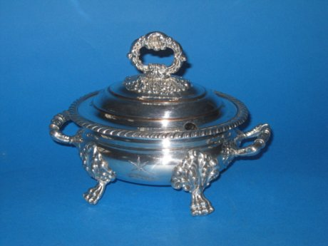 Georgian Old Sheffield Plate silver sauce tureen - Click to enlarge and for full details.