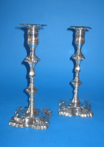 Rare Pair of Old Sheffield Silver Candlesticks by Henry Tudor, circa 1760. - Click to enlarge and for full details.