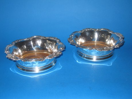 Pair of 19th Century Old Sheffield silver wine coasters - Click to enlarge and for full details.