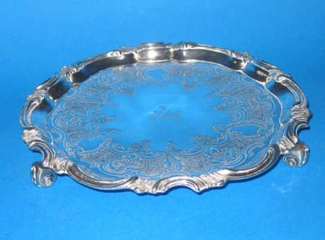Regency Old Sheffield Plate Silver Salver - Click to enlarge and for full details.