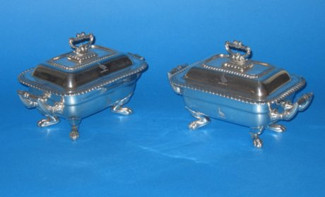 Pair Old Sheffield Plate silver sauce tureens. - Click to enlarge and for full details.