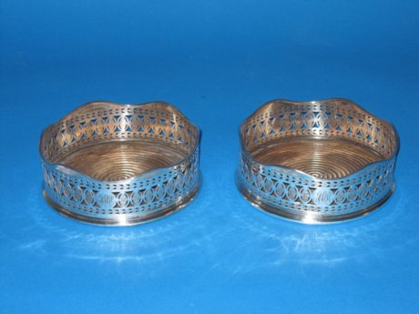 Pair Old Sheffield silver wine coasters, circa 1785 - Click to enlarge and for full details.