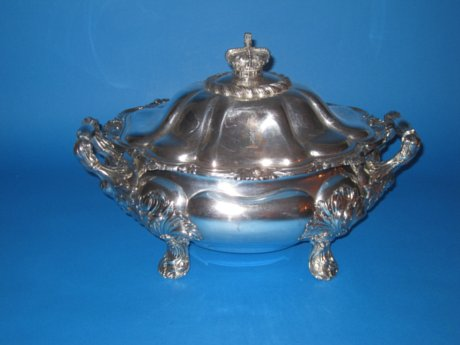 Georgian Old Sheffield Plate silver Soup Tureen, circa 1825 - Click to enlarge and for full details.