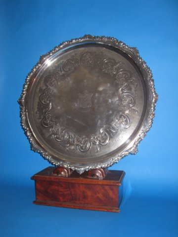 Large Regency Old Sheffield Silver Salver, circa 1825 - Click to enlarge and for full details.