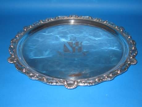 Large Old Sheffield Plate silver salver, circa 1800 - Click to enlarge and for full details.