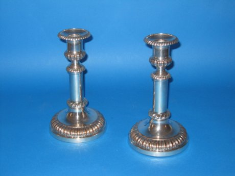 Pair 19th Century telescopic candlesticks, circa 1820 - Click to enlarge and for full details.