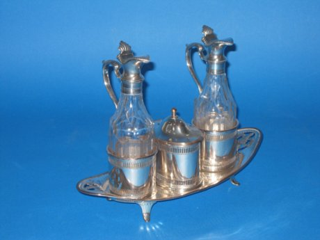 Rare late 18th Century Old Sheffield plate silver cruet stand, circa 1790 - Click to enlarge and for full details.
