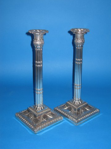 Pair of 18th Century Old Sheffield Plate silver candlesticks, circa 1785 - Click to enlarge and for full details.
