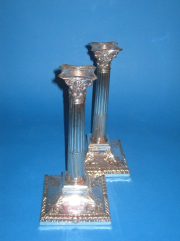 Pair late 18th Century old sheffield silver candlesticks - Click to enlarge and for full details.