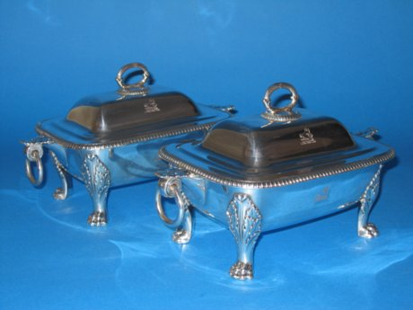 Pair of Old Sheffield silver sauce tureens, circa 1820 - Click to enlarge and for full details.