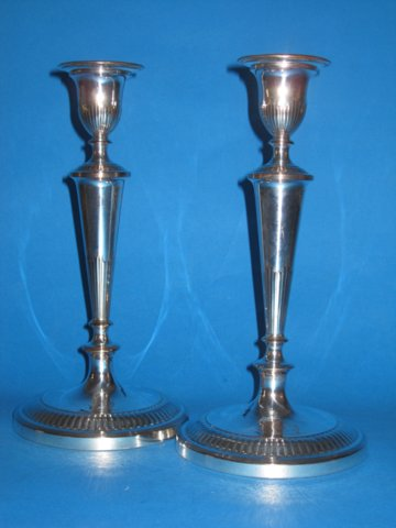 Pair candlesticks, circa 1790 - Click to enlarge and for full details.